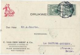 Carte Post. Sans Illustration /Fab.instrum.Musique/VAN Der WERF & Co/Rotterdam/Courbe/La Couture Boussey/1927  PART215 - Musique & Instruments