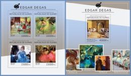 Gu14504ab Guinea 2014 Painting Edgar Degas 2 S/s - Impressionisme