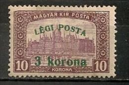 Timbres - Hongrie - Poste Aérienne - 1920 - 3 K./10 -