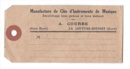 Etiquette D'expédition /Fab.instrum.Musique/Gare De Bueil/Courbe/La Couture Boussey/vers 1925  PART217 - Musique & Instruments