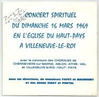 45 T Concert Spirituel Du Dimanche 16 Mars 1969 En L'Eglise De VILLENEUVE LE ROI (Dédicace De L'Abbé PORTAL) - Gospel & Religiöser Gesang