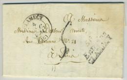 Cursive Mixte Entrains CLAMECY + Type 13 Clamecy / LàC 1834 Pour Paris. Coupe De Bois. Comte De Choiseul. - Postmark Collection (Covers)