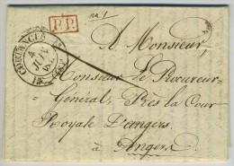 Type 12 COUTANCES / LàC 1832 Pour Angers. Port Payé Roupe PP Barré Et Taxe 4 Décimes Au Dos. Ecrite à Savigny. Police. - 1801-1848: Precursors XIX