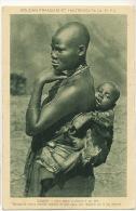 Soudan Français Et Haute Volta Jeune Maman Chauve  Et Son Bébé Berceau Dans Le Dos - Burkina Faso