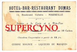 13 BOUCHES DU RHONE CARTE PUBLICITAIRE HOTEL BAR RESTAURANT DUMAS A MARSEILLE CUISINE SOIGNEE LIQUEURS TOUTES MARQUES - Cartes