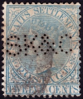 "STRAITS SETTLEMENTS 1867 12c Sc#14 W.CrownCC PERFIN ""SK&C"" Used [P750] - Straits Settlements"