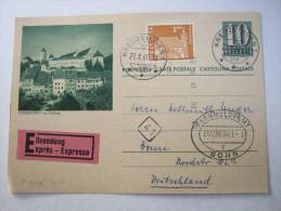 1961, Bildganzsache Mit Zusatzfrankatur Als Eilkarte Nach Bonn - Stamped Stationery