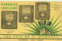 39 MORBIER JURA BUVARD HORLOGERIE PENDULES CARILLONS HORLOGES ROMANET PUBLICITE - Blotters