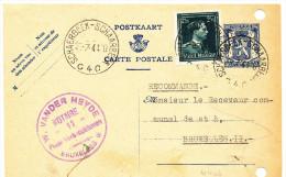 1944 POSTKAART ?AANGETEKEND? TYPE PZ 426 MET PZ 644 VAN SCHAERBEEK4 NAAR BRUXELLES2 !!PERFORATIES!! ZIE SCAN(S) - Enteros Postales