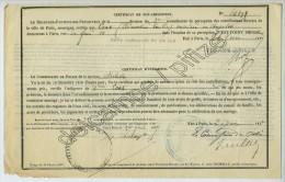Certificats De Non-imposition Et D'indigence 1877 Pour Ouvrière En Chapelets à Paris. - Vieux Papiers