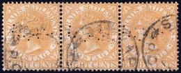 STRAITS SETTLEMENTS 1882 8c Sc#49 W.CrownCA PERFIN Strip3 [P755] - Straits Settlements