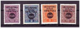 Croazia - 1941 - Nuovo/new MH - Sovrastampati - Mi N. 43/46 - Croazia