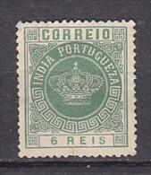 INDE PORTUGUAISE -  N°Y&T - 116 - 6r  Vert  - Couronne - (N) - Inde Portugaise