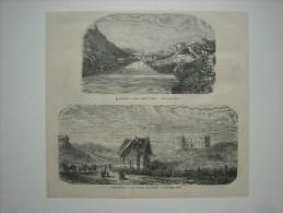GRAVURE 1869. BIARRITZ......... 2 GRAVURES; LE VIEUX PORT..........LA VILLA EUGENIE............ - Prints & Engravings