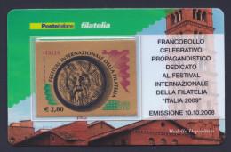 """2008 ITALIA REPUBBLICA """"FESTIVAL INTERNAZIONALE DELLA FILATELIA ORO"""" TESSERA FILATELICA - 6. 1946-.. Republic"""