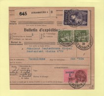 Bulletin D´expedition - 3f Mermoz + Paix - Strasbourg Quai De Paris - 1938 - Marcophilie (Lettres)