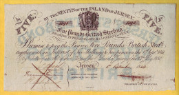 JERSEY - Billet De 5 Pounds. 1 Septembre 1840.  Pick: A1. TTB - Jersey