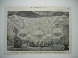 GRAVURE 1869. TURQUIE.......CONSTANTINOPLE..... SALLE A MANGER DU PALAIS DE BEILERBEY, RESIDENCE DE L'IMPERATRICE. - Estampas & Grabados