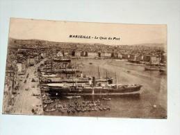 Carte Postale Ancienne : MARSEILLE : Le Quai Du Port, Paquebots , En 1916 - Vieux Port, Saint Victor, Le Panier