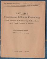 Annuaire Des Communesdu GM Du Wurtemberg Et Zones Françaises, à L'usage Des Troupes Française En Allemagne - Catalogues