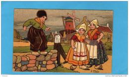EXIBARD-Remède D´abyssinie-Cigarettesoulage Asthme-hollande-illus -j Wells-garçon Sur Mur Sous Les Moulins-années 1900 - Other Brands