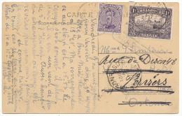 """1921 ZICHT5KAART """"MONS PANORAMA"""" MET PZ 139+145 VAN MONS NAAR OOSTENDE-DOORGESTUURD NAAR VERVIERS-  ZIE SCAN(S) - 1915-1920 Albert I"""