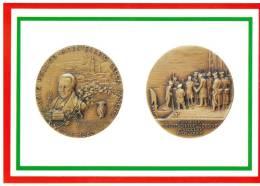 [DC1647]  CARTOLINEA - DI MEDAGLIA IN MEDAGLIA - BICENTENARIO NASCITA SILVIO PELLICO - PARTENZA PER LO SPIELBERG - Monete (rappresentazioni)