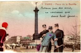 Paris - Place De La Bastille - Retenu Par Des Amis Ne Rentrerai Que Dans Huit Jours (carte Abimée Sur Le Coté Inférieur - Plätze