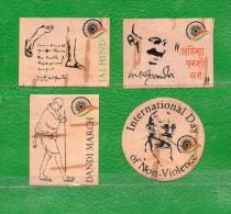 MAHATMA GANDHI- Uruguay- 4 Stikers Autoadhesivos - Mahatma Gandhi