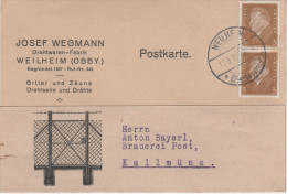 Postkarte Deutsches Reich 1932 Wegmann Drahtwaren Fabrik Weilheim An Anton Bayerl Brauerei Post Kallmünz Burglengenfeld - Deutschland