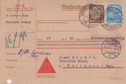Nachnahme Überweisung Deutsches Reich 1934 Leinbrock Niedersedlitz Dresden An Anton Bayerl Brauerei Post Kallmünz - Deutschland