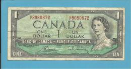 CANADA - 1 DOLLAR - ( 1954 ) - Pick 75.c - Sign. Bouey-Rasminsky ( 1972-73 ) - Printer BABNC - 2 Scans - Canada