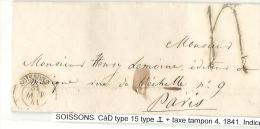Aisne - Soissons Pour Un éditeur De Musique - CàD Type 15 I + Taxe Tampon 4. 1841 - 1801-1848: Precursors XIX