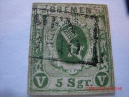 BREMEN, SCOTT# 4, 5 GR, GREEN, USED - Brême