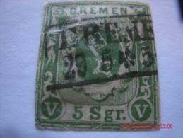 BREMEN, SCOTT# 4, 5 GR, GREEN, USED - Bremen