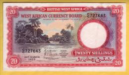 BRITISH WEST AFRICA - Billet De 20 Shillings. 31-03-1953.  Pick: 10a.  SUP+ - Autres - Afrique