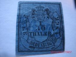 OLDENBURG, SCOTT#1, 1/30TH G, BLACK ON BLUE, USED - Oldenburg