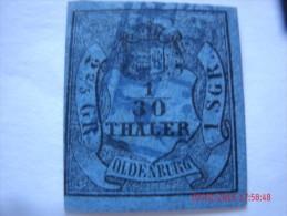 OLDENBURG, SCOTT#1, 1/30TH G, BLACK ON BLUE, USED - Oldenbourg