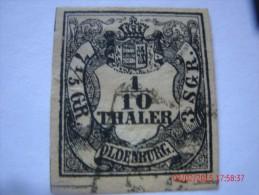 OLDENBURG, SCOTT#3, 1/10TH G, BLACK ON YELLOW, USED - Oldenburg