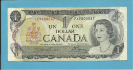 CANADA - 1 DOLLAR - ( 1973 ) - Pick 85a - Sign Lawson-Bouey - 2 Scans - Canada