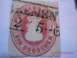 OLDENBURG, SCOTT#23, 1 G ROSE, USED - Oldenburg