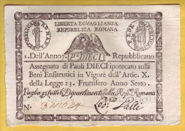 REPUBBLICA ROMANA - Assignat De 10 Paoli. 1798-99.  Pick: S332.  SUP+ - Italie