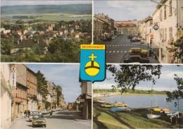 MORHANGE (Moselle) - CP - 4 Vues + BLASON : Vue Générale, Place République, Rue Poincarré, Etang + Voitures Renault 5 - Morhange