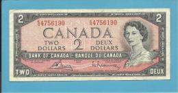 CANADA - 2 DOLLARS - ( 1954 ) - Pick 76c - Sign Bouey-Rasminsky ( 1972-73 ) - 2 Scans - Canada