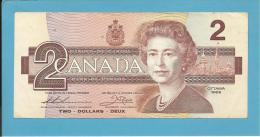 CANADA - 2 DOLLARS - ( 1986 ) - Pick 94.b - Sign. Thiessen-Crow - 2 Scans - Canada