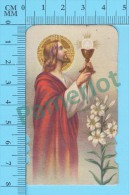 Pieuse, Holy Card, Santini ( Jesus, Calice Ostie NB- K-6114 ) Recto/Verso - Images Religieuses