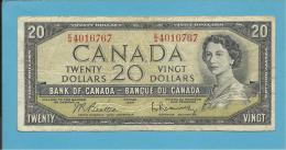 CANADA - 20 DOLLARS - ( 1954 ) - Pick 80.b - Sign. Beattie-Rasminsky ( 1961-70 ) - 2 Scans - Canada