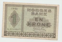 Norway 1 Krone 1944 VF+ CRISP RARE Banknote Pick 15a - Norvegia