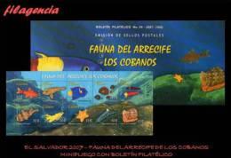AMERICA. EL SALVADOR MINT. 2007 FAUNA MARINA. ARRECIFE LOS COBANOS. MINIPLIEGO CON FOLLETO DE PRESENTACIÓN - El Salvador