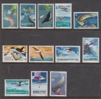 Australian Antarctic Territory 1973 Food Chain & Aircraft Definitive Set 12 MNH - Nuovi